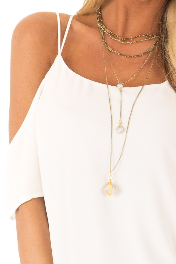 Snow White Flowy Cold Shoulder Super Strappy Top detail