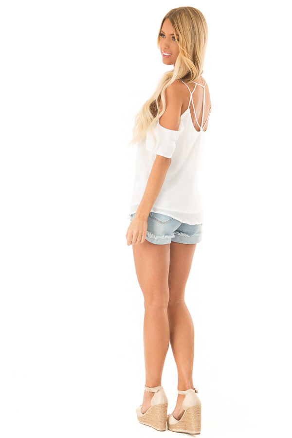 Snow White Flowy Cold Shoulder Super Strappy Top side full body