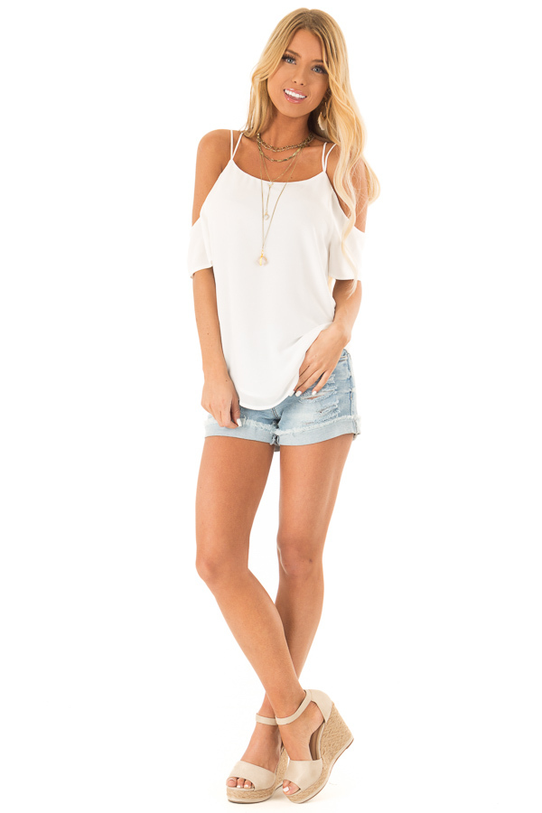 Snow White Flowy Cold Shoulder Super Strappy Top front full body