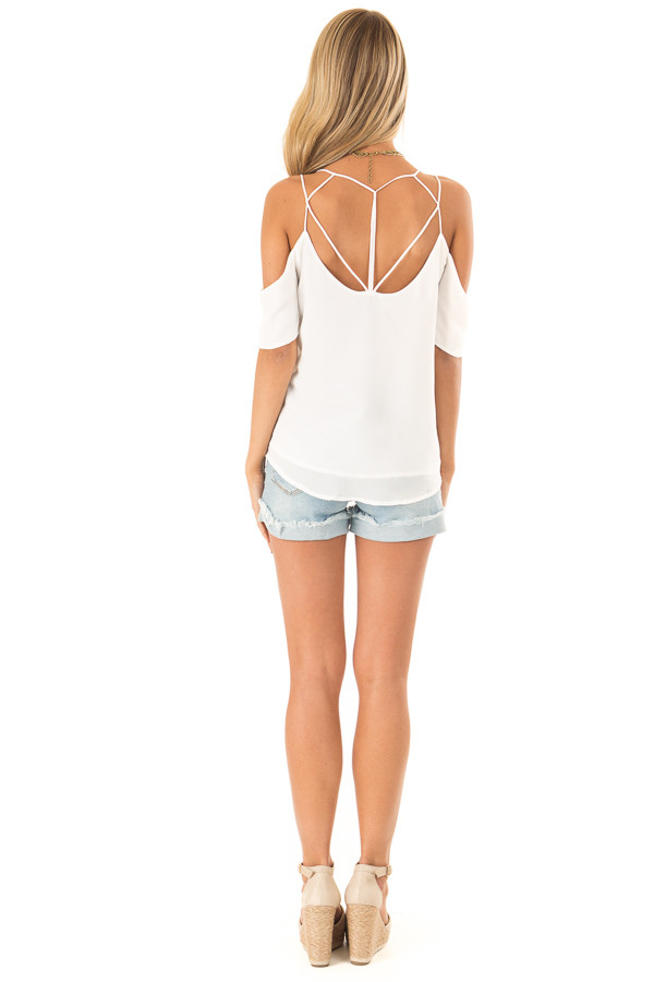Snow White Flowy Cold Shoulder Super Strappy Top back full body