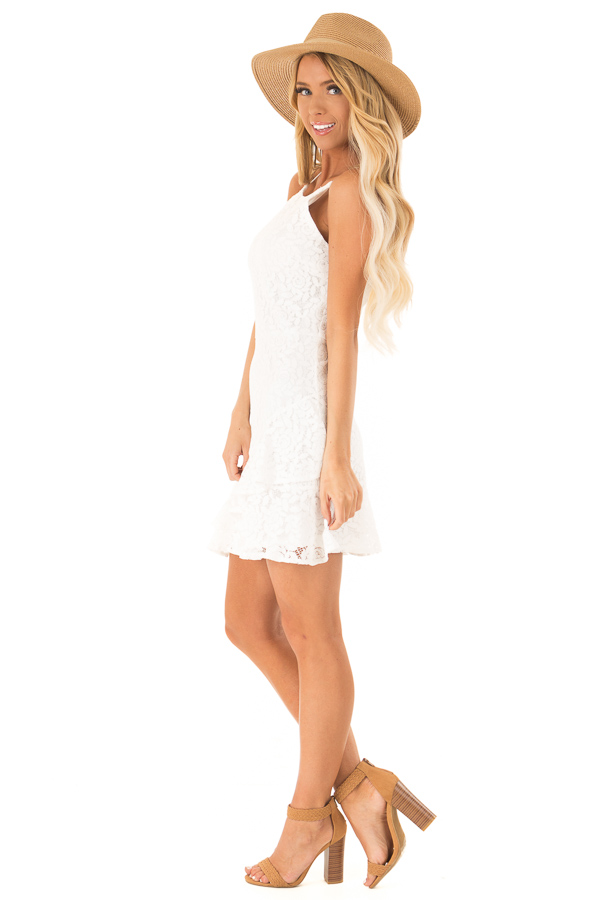 Coconut White Floral Lace Dress with Ruffle Detail side full body