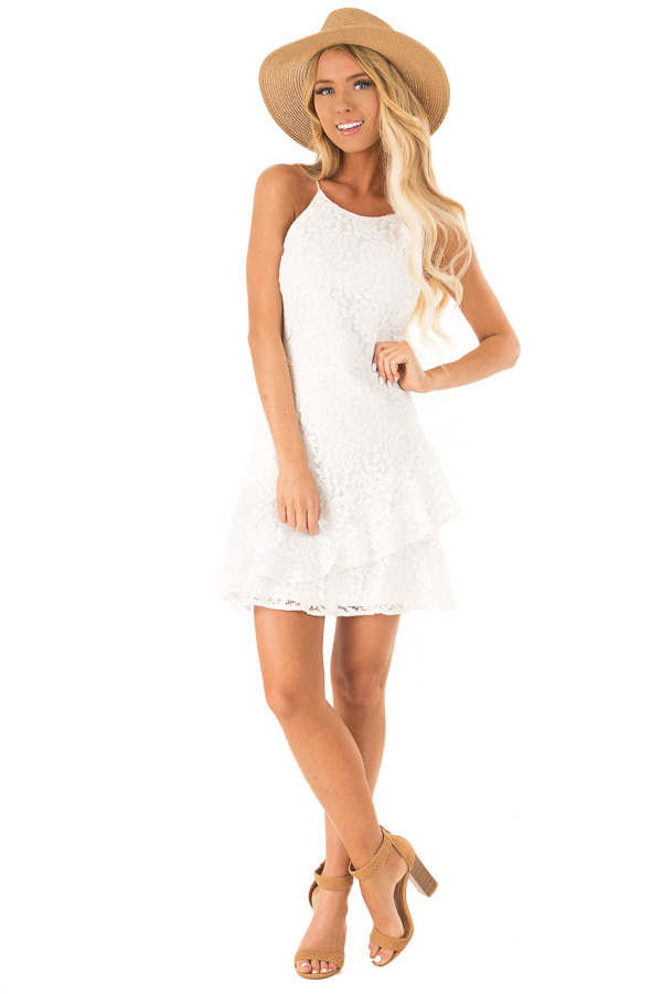 Coconut White Floral Lace Dress with Ruffle Detail front full body