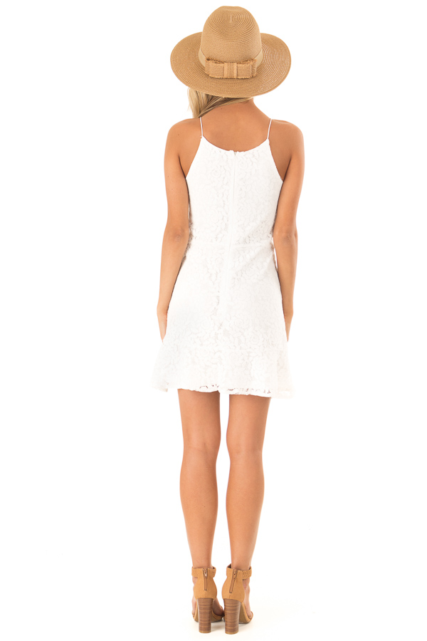 Coconut White Floral Lace Dress with Ruffle Detail back full body