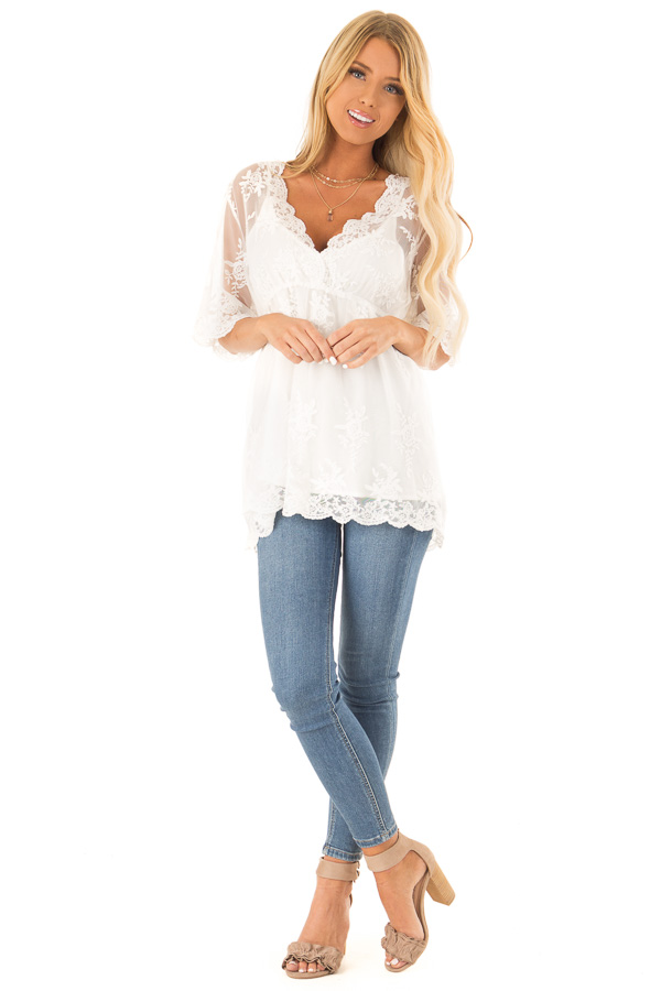33c2cf4fc1ab2e ... Snowy White Sheer Floral Lace Short Sleeve Top front full body ...