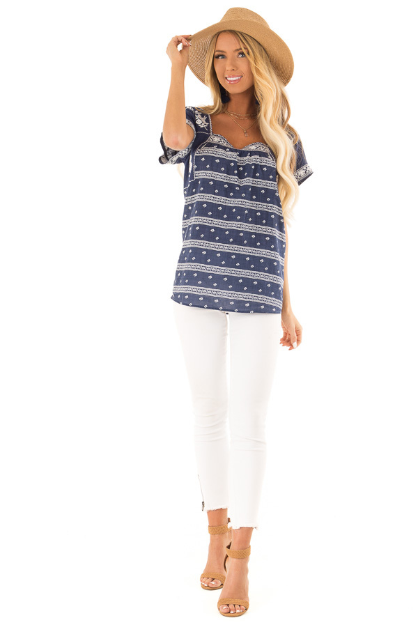 Navy and Ivory Print Peasant Top with Embroidered Details front full body