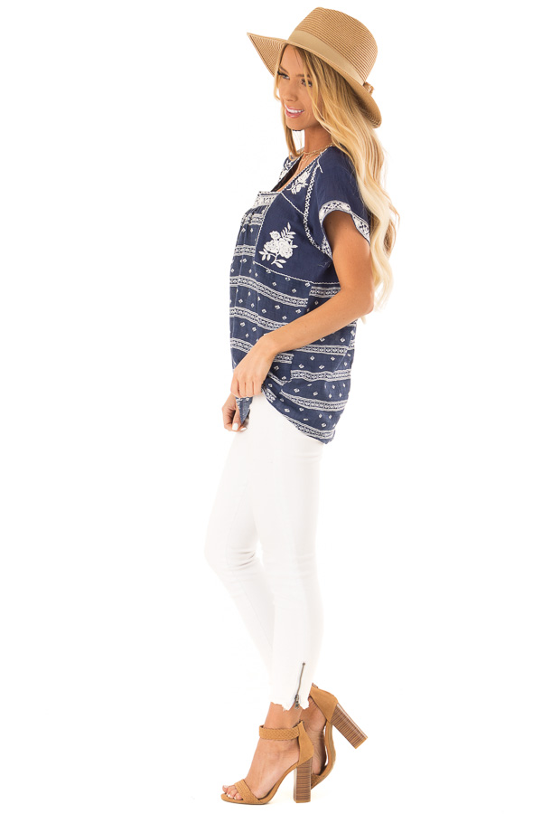 Navy and Ivory Print Peasant Top with Embroidered Details side full body