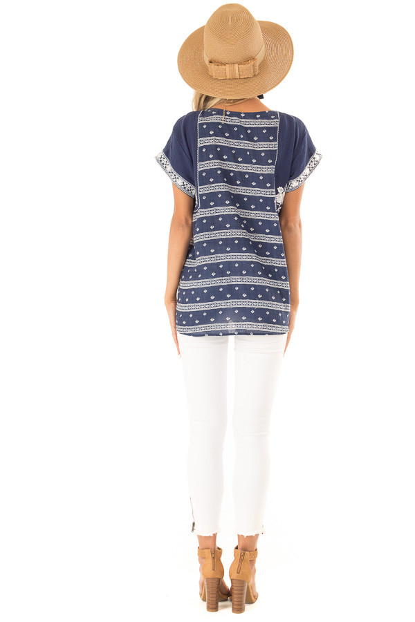 Navy and Ivory Print Peasant Top with Embroidered Details back full body