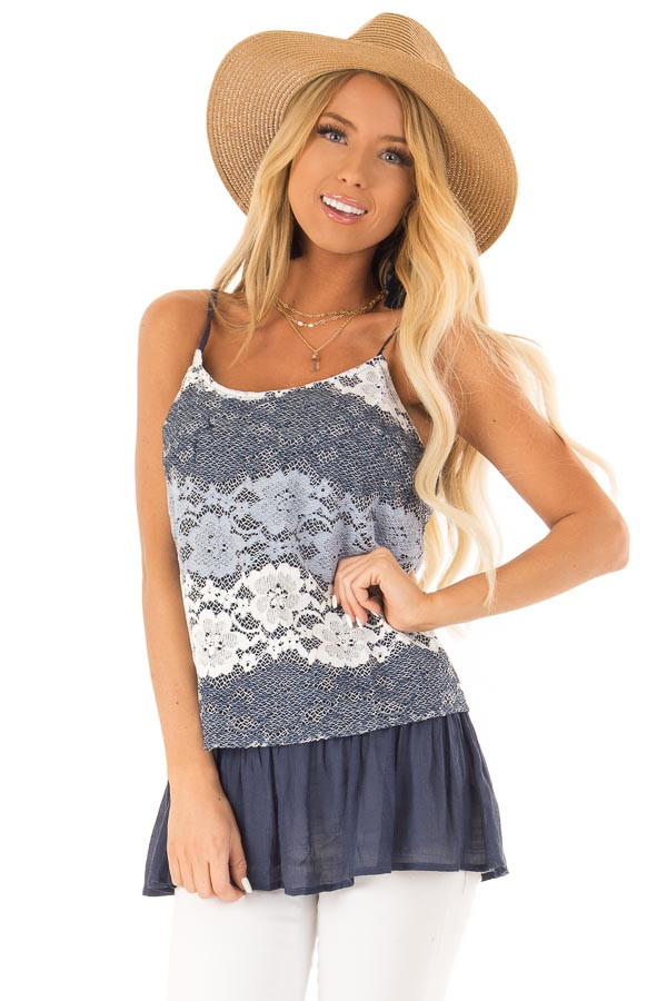 Navy Tank with Adjustable Spaghetti Straps and Lace Overlay front close up