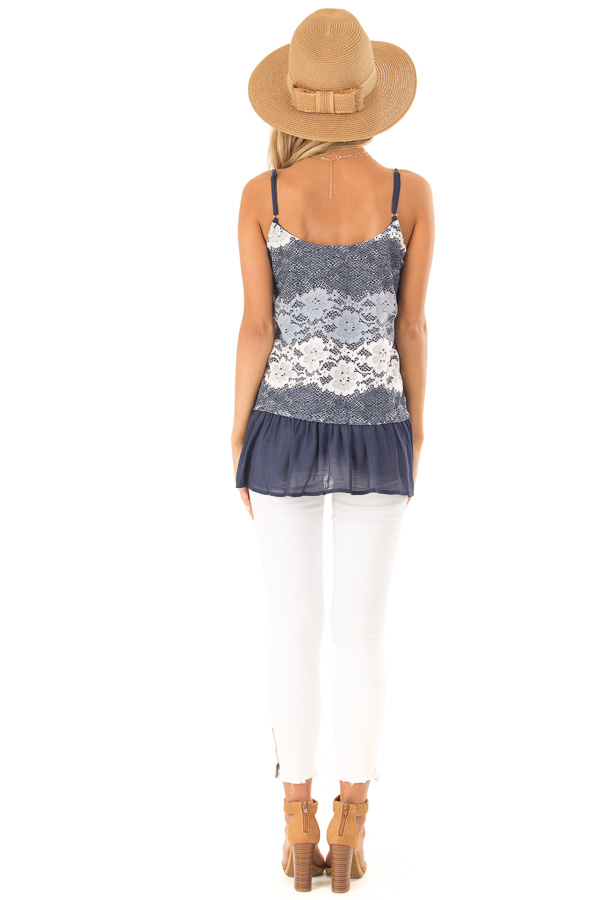 Navy Tank with Adjustable Spaghetti Straps and Lace Overlay back full body