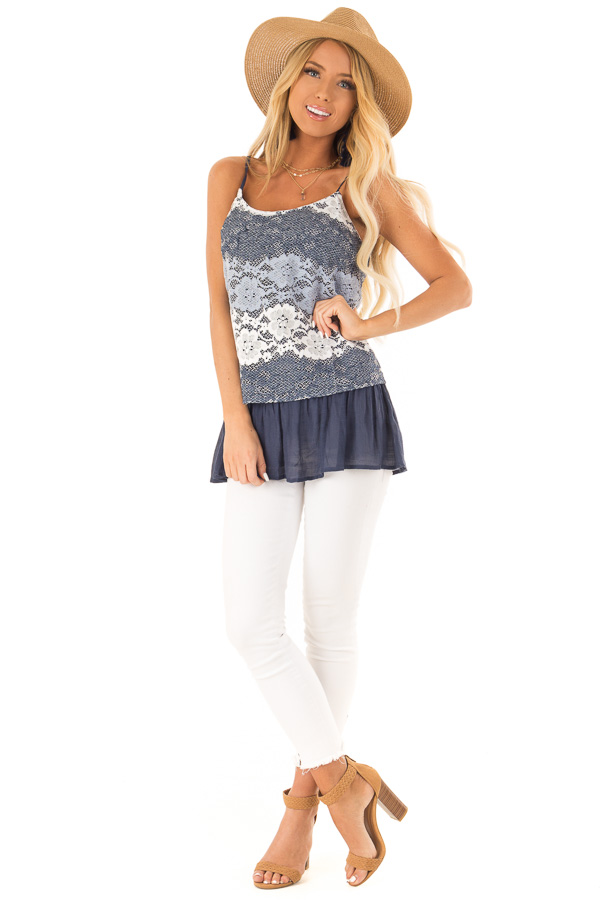 Navy Tank with Adjustable Spaghetti Straps and Lace Overlay front full body