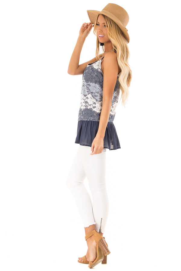 Navy Tank with Adjustable Spaghetti Straps and Lace Overlay side full body