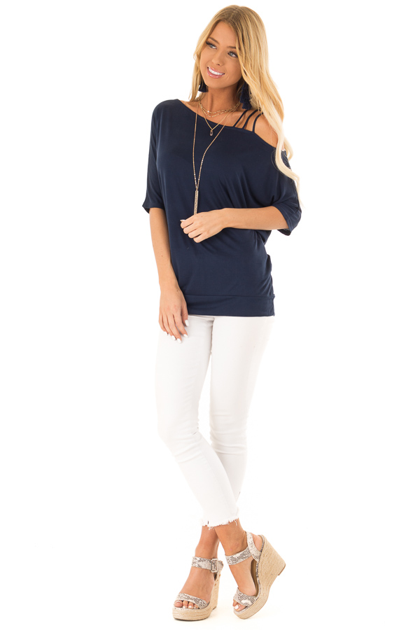 Navy Soft Asymmetrical Off the Shoulder Top front full body
