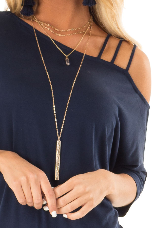 Navy Soft Asymmetrical Off the Shoulder Top detail