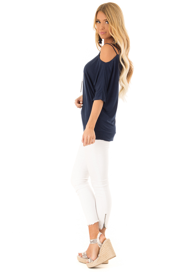 Navy Soft Asymmetrical Off the Shoulder Top side full body