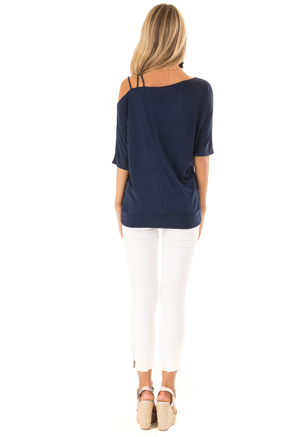 Navy Soft Asymmetrical Off the Shoulder Top back full body