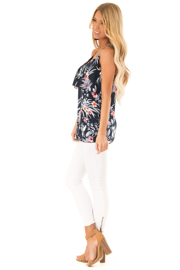 Navy Floral Print Criss Cross Strap Tank with Ruffle Detail side full body