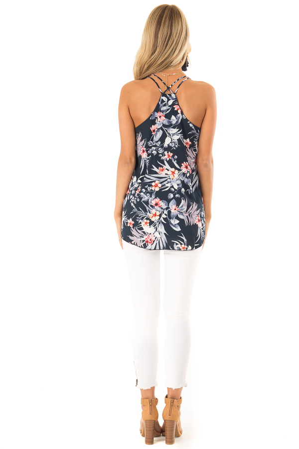 Navy Floral Print Criss Cross Strap Tank with Ruffle Detail back full body