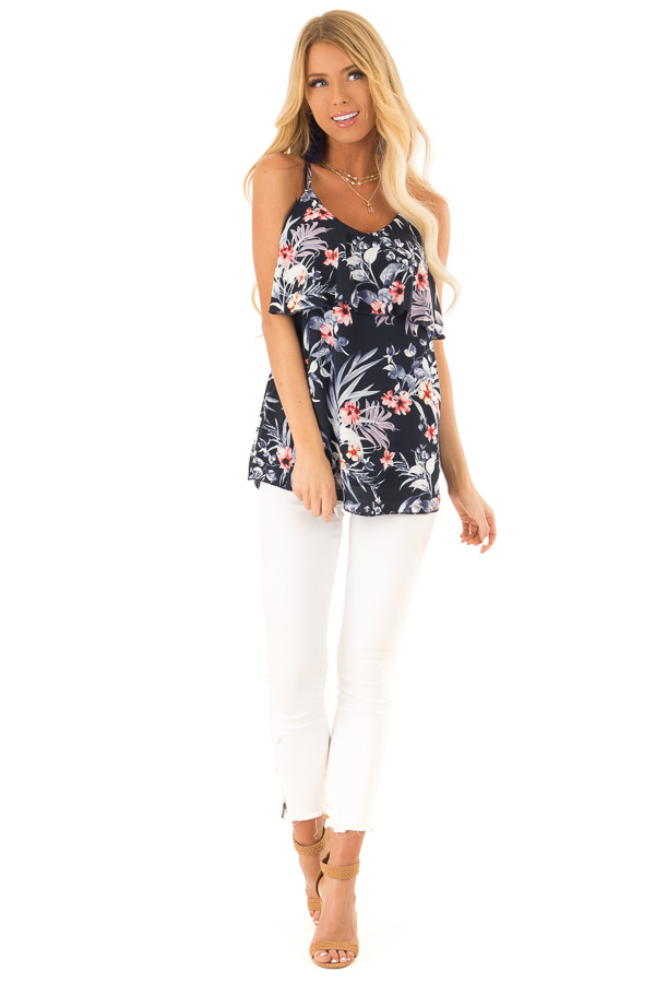 Navy Floral Print Criss Cross Strap Tank with Ruffle Detail front full body