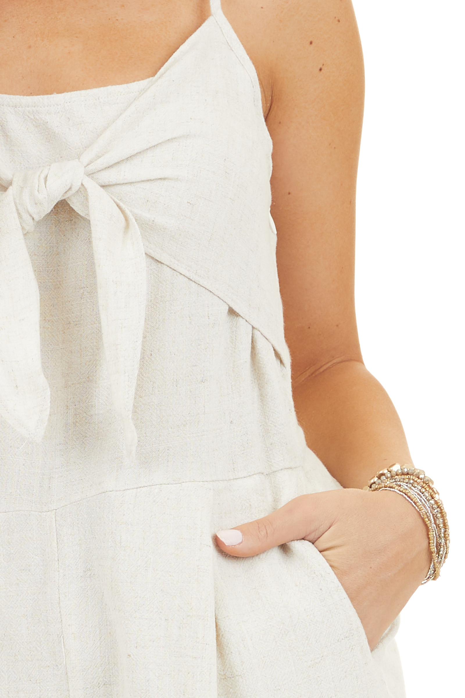 Oatmeal Romper with Pockets and Front Knot Detail