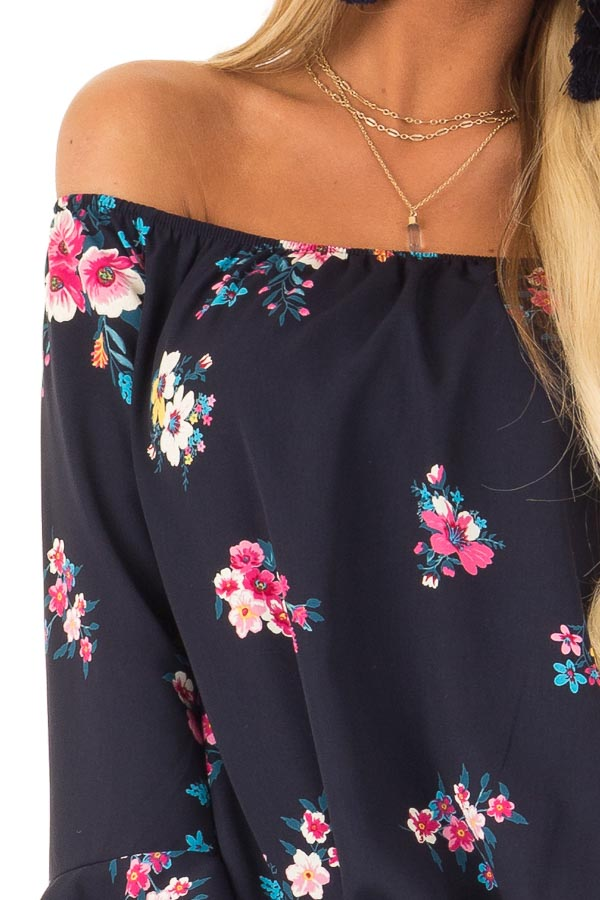 Dark Navy Floral Print Top with Bell Sleeves and Front Tie detail