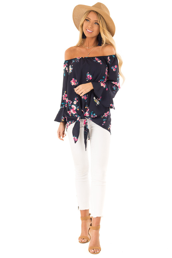 Dark Navy Floral Print Top with Bell Sleeves and Front Tie front full body