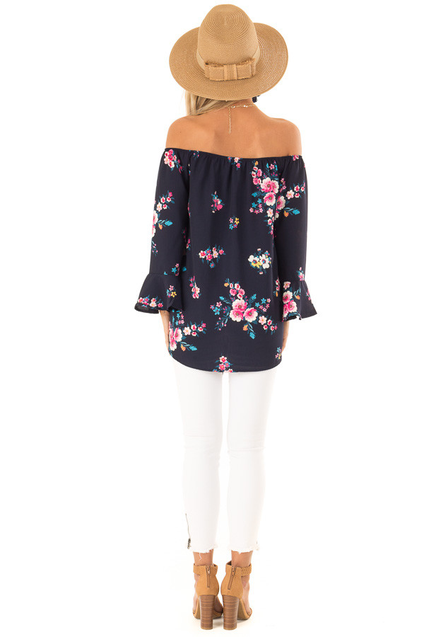 Dark Navy Floral Print Top with Bell Sleeves and Front Tie back full body