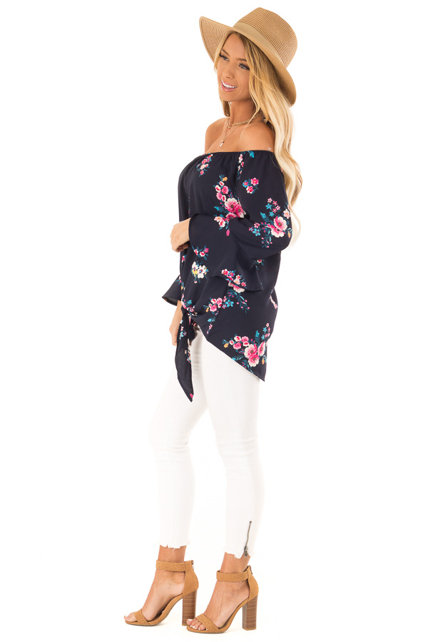 Dark Navy Floral Print Top with Bell Sleeves and Front Tie side full body