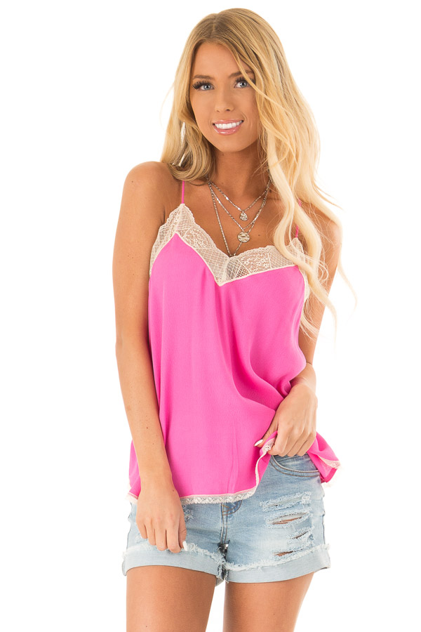 Hot Pink Spaghetti Strap Camisole Top with Lace Details front close up