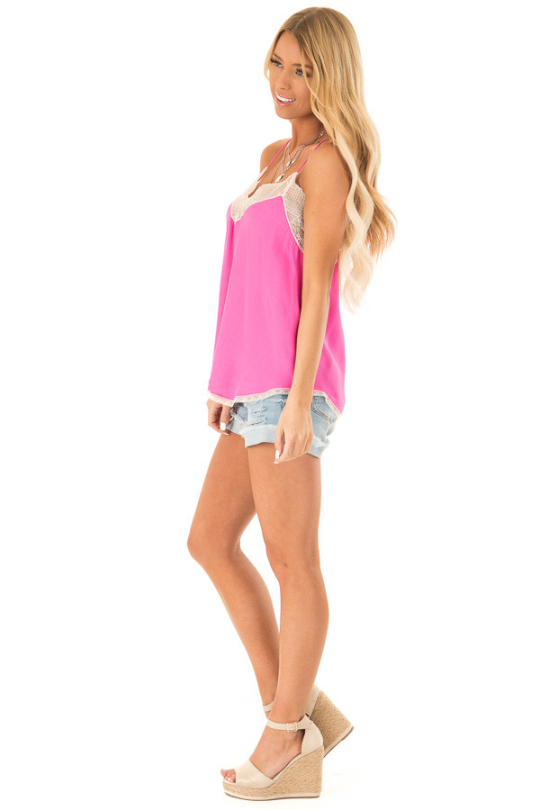 Hot Pink Spaghetti Strap Camisole Top with Lace Details side full body