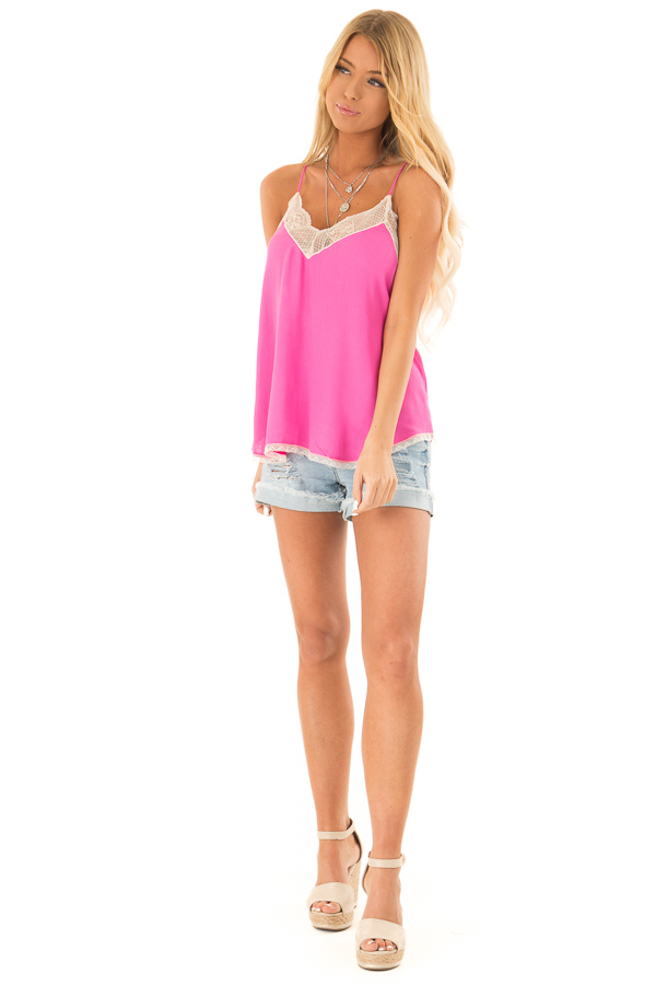 Hot Pink Spaghetti Strap Camisole Top with Lace Details front full body