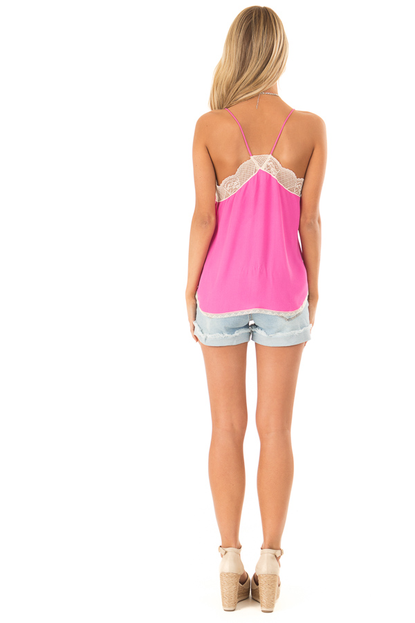 Hot Pink Spaghetti Strap Camisole Top with Lace Details back full body