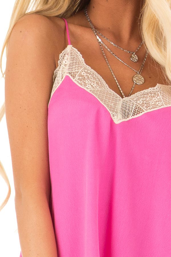 Hot Pink Spaghetti Strap Camisole Top with Lace Details detail