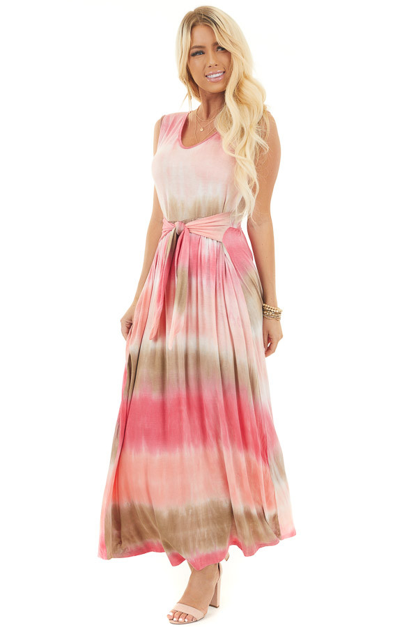 Punch Pink Tie-Dye Maxi Dress with Front Tie