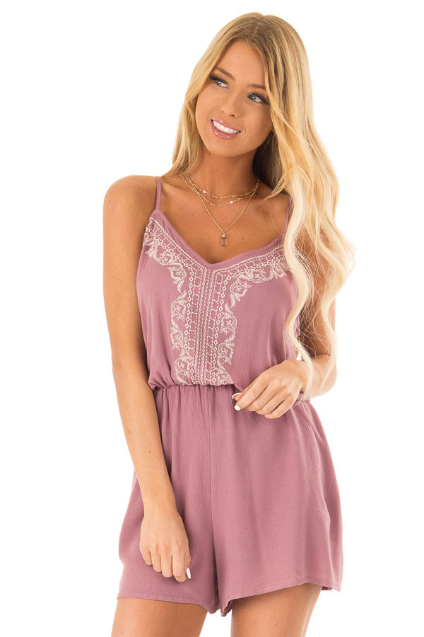Lilac Embroidered Spaghetti Strap Romper with Pockets front close up