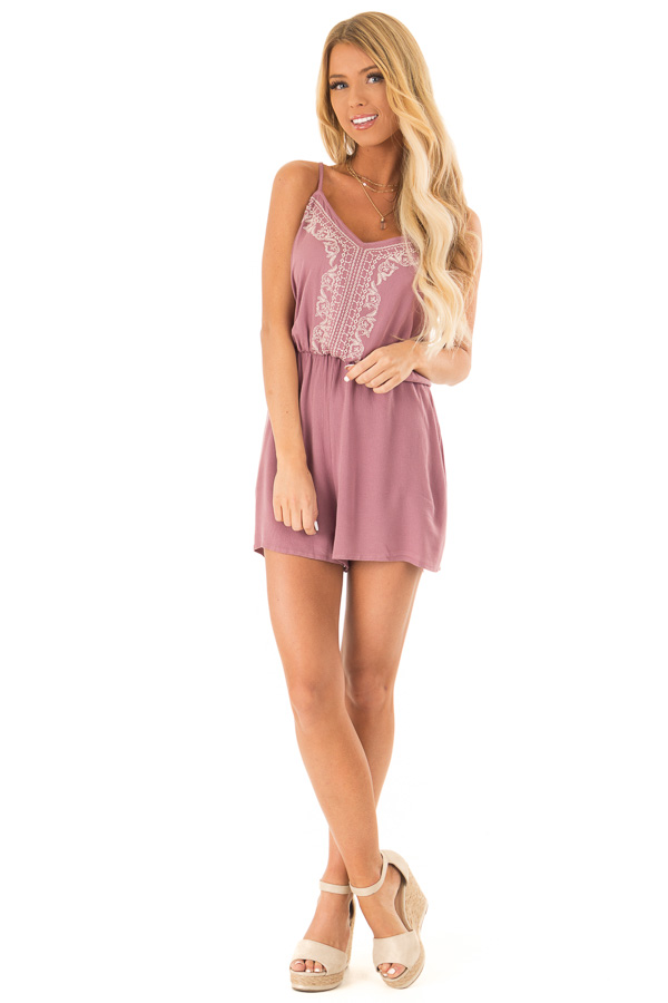 Lilac Embroidered Spaghetti Strap Romper with Pockets front full body
