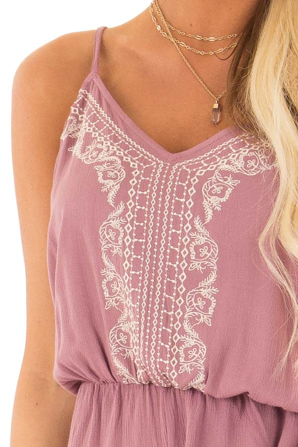 Lilac Embroidered Spaghetti Strap Romper with Pockets detail