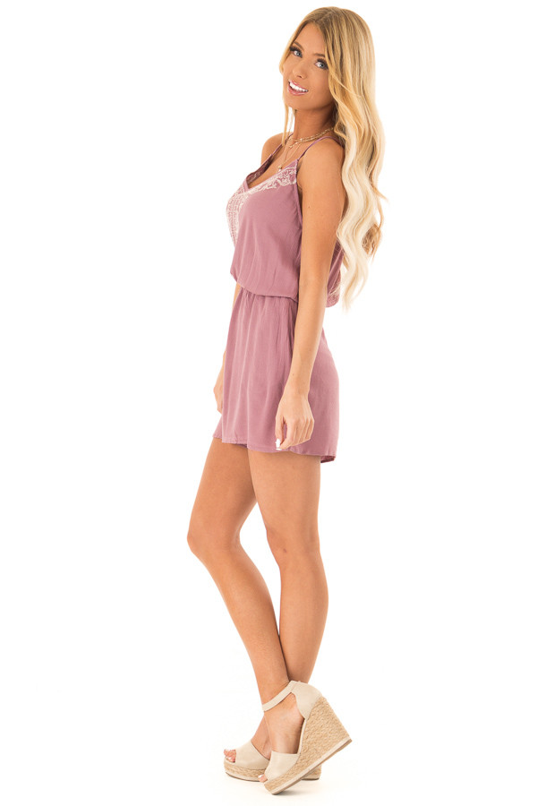 Lilac Embroidered Spaghetti Strap Romper with Pockets side full body