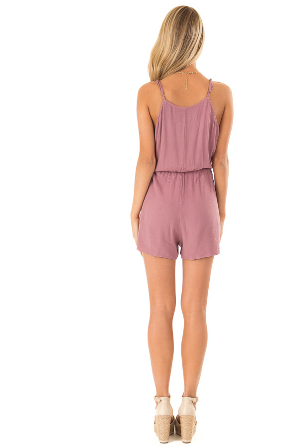 Lilac Embroidered Spaghetti Strap Romper with Pockets back full body