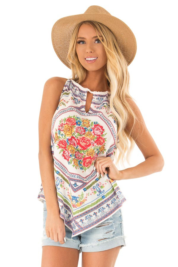 d3ddac5bfb241 Ivory Floral Print Handkerchief Tank Top - Lime Lush Boutique