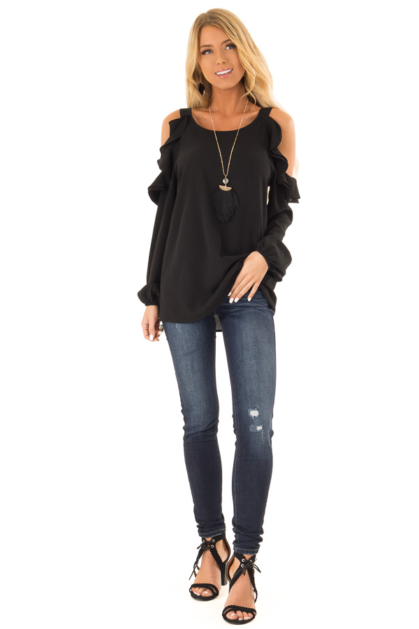 c968987baa0f81 ... Raven Black Cold Shoulder Long Sleeve Top with Ruffles front full body  ...