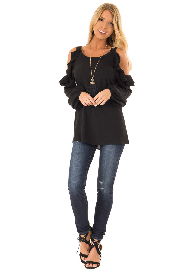 Raven Black Cold Shoulder Long Sleeve Top with Ruffles front full body