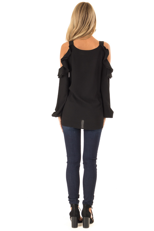 Raven Black Cold Shoulder Long Sleeve Top with Ruffles back full body