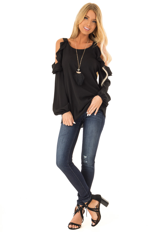 3e030c9bd795a1 Raven Black Cold Shoulder Long Sleeve Top with Ruffles front full body ...
