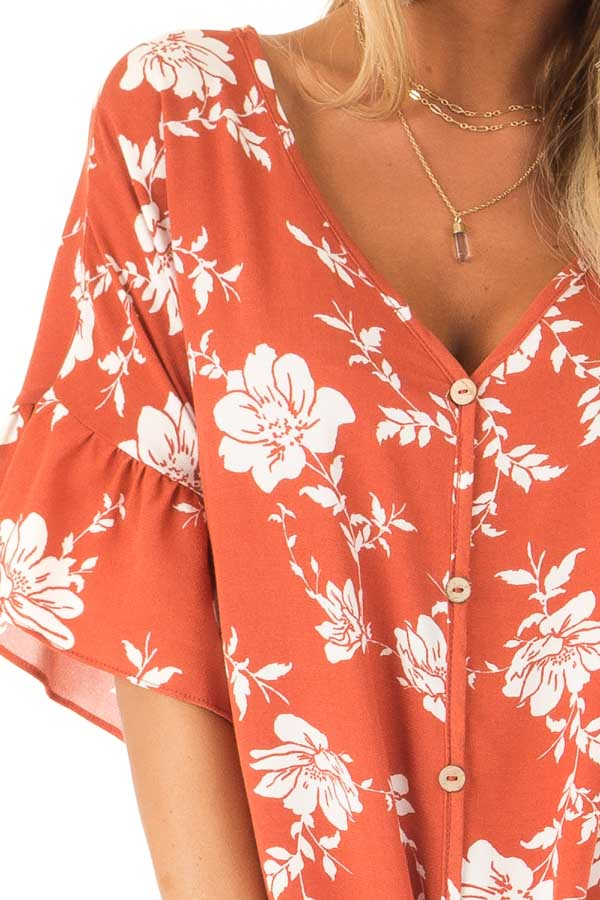Burnt Orange and Floral Print Button Up Top with Front Tie detail