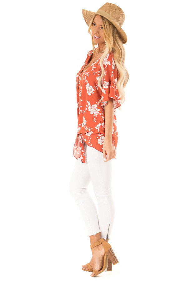 Burnt Orange and Floral Print Button Up Top with Front Tie side full body