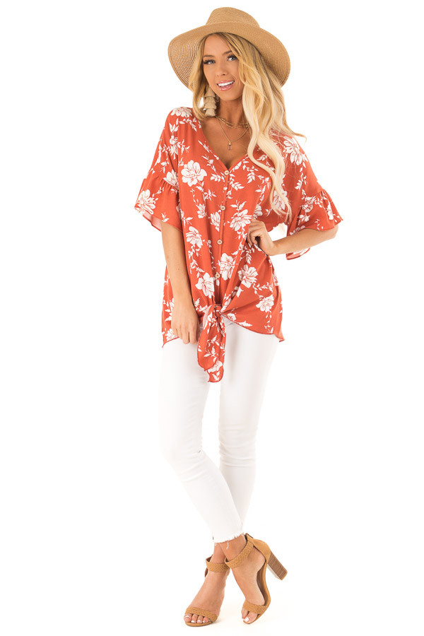 Burnt Orange and Floral Print Button Up Top with Front Tie front full body