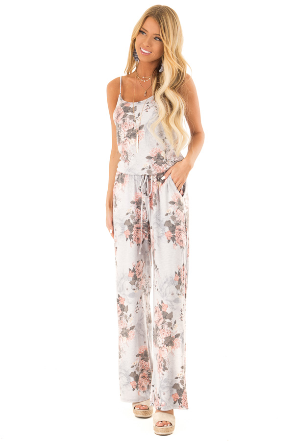 Heather Grey and Floral Jumpsuit with Pockets and Tie front full body