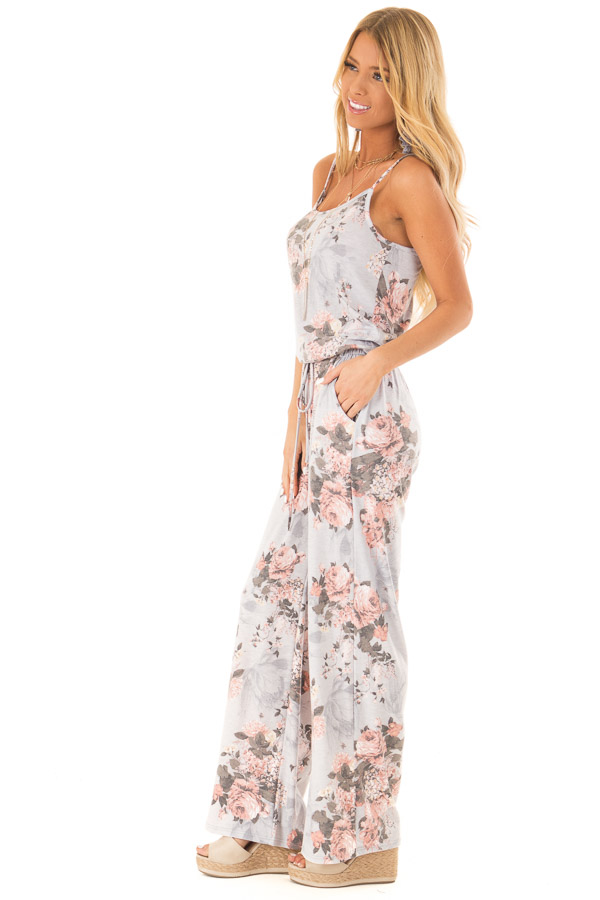 Heather Grey and Floral Jumpsuit with Pockets and Tie side full body