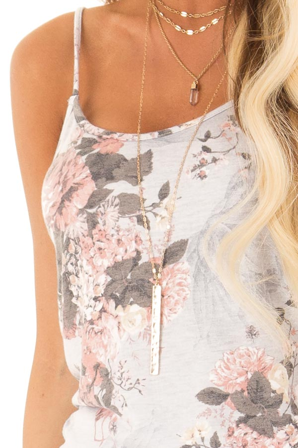Heather Grey and Floral Jumpsuit with Pockets and Tie detail