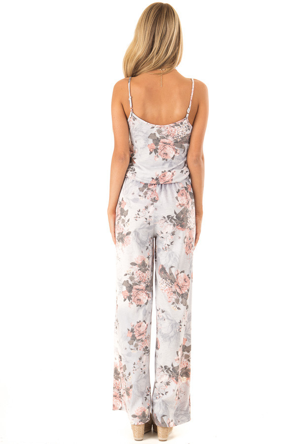 Heather Grey and Floral Jumpsuit with Pockets and Tie back full body